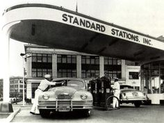 "Modern Style Station: Image courtesy of John Jakle. In the 1940s, stations became ""service stations"" with oil checks and washing the windows."