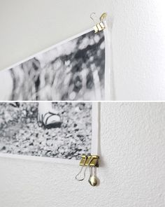 The easiest way to hang a big photos and posters. This is especially great for pieces you want to change frequently.