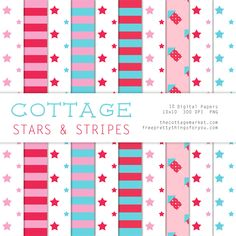Free Digital Scrapbooking Cottage Stars and Stripes Paper Pack Part 2 - Free Pretty Things For You