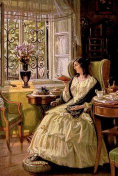Tissot, James JJ (b,1836)- Woman w Book, Watching Visiting Bird