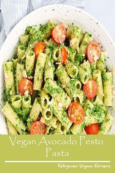 Flavorful   vegan pasta made with avocado, spinach, and classic pesto ingredients.