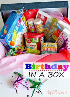 If you have boxed cake mixes and frosting in your stockpile, consider creating a Birthday in a Box! This fun and frugal gift idea is not only fun for birthdays but could also be created simply to b… Birthday Basket, Birthday Bag, Birthday Gifts, Birthday Ideas, Birthday Sayings, Happy Birthday, Birthday Recipes, 70th Birthday, Birthday Images