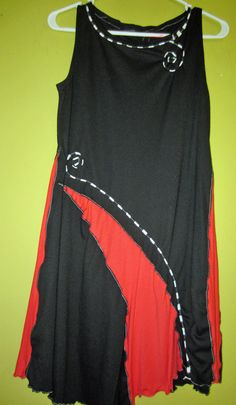 Little black upcycled Dress with Red Fits XS S by monapaints, $149.00