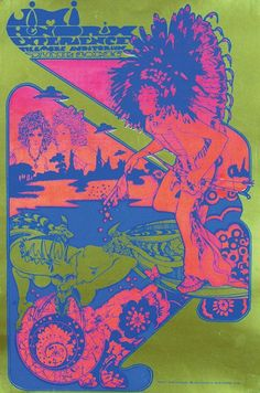 Jimi Hendrix Experience at the Filmore Auditorium 1967, printed England, Osiris Visions