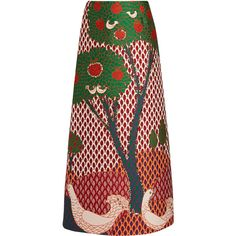 REDValentino Fantasy Landscape-jacquard maxi skirt ($965) ❤ liked on Polyvore featuring skirts, red maxi skirt, red high waisted skirt, a-line skirts, high-waisted maxi skirt and high-waisted skirts