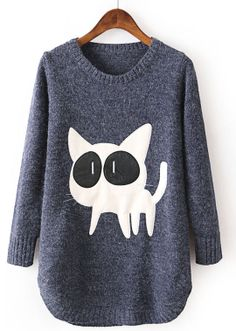 Blue Long Sleeve Contrast PU Leather Cat Pattern Sweater US$33.44