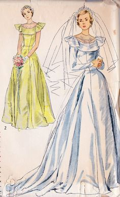 1940s Misses Wedding Gown Bridesmaid Dress by MissBettysAttic, $13.00