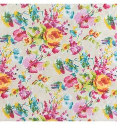 Toile polycoton imprimée aquarelle rose grande largeur