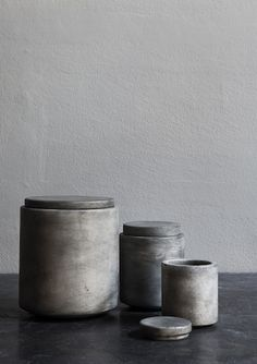 grey stained marble jars
