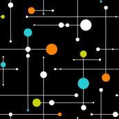 Wallpaper: Ballastic (large) - Black/Lime/Aqua/Orange - gammagammahey - Spoonflower