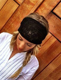 Stretchy Lace Headband Wrap Black Lacy Head by ThreeBirdNest