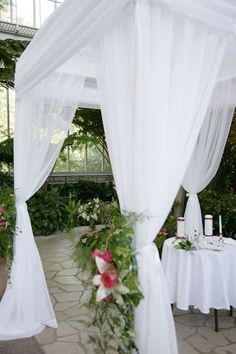 Chuppah idea with black bows and red flowers?