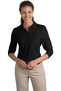 Port Authority Ladies 34Sleeve Sport Shirt XL Black >>> Click on the image for additional details.