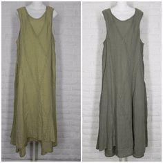CYNTHIA ASHBY Lattice Dress Sleeveless Two Layer Fossil Gold Stone Olive NWT M L…