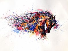Signed Giclee print Portrait White 420 x (Not an original artwork) © 2015 Emily Tan Watercolor Horse, Watercolor Animals, Street Art, Abstract Iphone Wallpaper, Different Kinds Of Art, Photoshop, Colorful Animals, Shops, Animal Tattoos