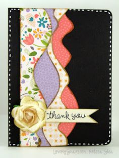 On black. Great way to use up scraps and use my wavy paper cutter. #cardmaking #crafts