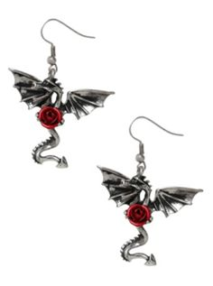 LOVEsick Red Rose Dragon Earrings