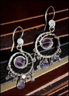 Amethyst , Iolite and Purple Aventurine Sterling Silver Swirling Earrings