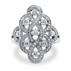 Sterling Silver Cubic Zirconia Woven Ring.
