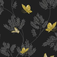 Opera Hermione Black, Grey & Yellow Wallpaper: Image 1