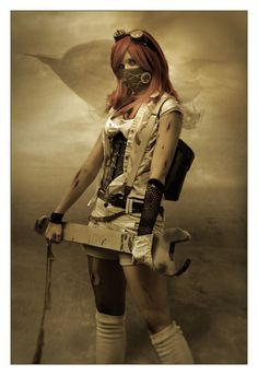 Constance Bashford Steampunk Cosplays--mask is a little creepy but I love the shirt over corset.