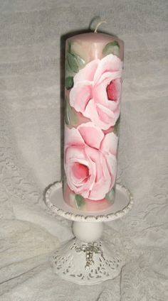 Shabby & Chic Cottage hp Roses Hand painted Pillar Candle-shabby,chic,cottage,roses,hp roses,hand painted,art,decor,candle,pink,weddings,bridal showers,