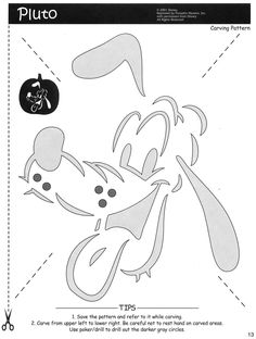 Disney - Pluto Mickey mouse and friends  Free Halloween pumpkin carving stencil design template pattern
