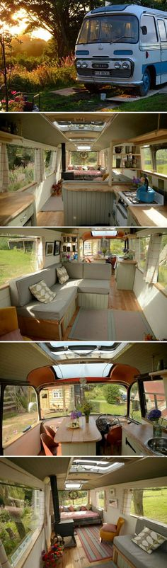 A bus that was transformed into a mini-hotel that can sleep up to four people! – Susan Emmen A bus that was transformed into a mini-hotel that can sleep up to four people! A bus that was transformed into a mini-hotel that can sleep up to four people! Bus Living, Tiny House Living, Kombi Home, Bus House, Bus Life, Bus Conversion, Remodeled Campers, Tiny House On Wheels, Tiny House Design