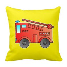 Red fire station wagon on yellow pilllow cushion