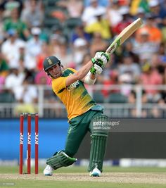 AB de Villiers of South Africa hits out for six runs during the 2nd KFC T20 International match between South Africa and England at Bidvest Wanderers Stadium on February 21, 2016 in Johannesburg, South Africa.