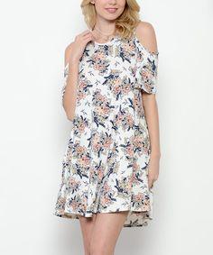 Off-White Floral Cutout Dress