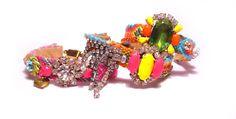 SS2012 Neon Vintage Rhinestone Friendship Bracelet by PureEssentia, $85.00