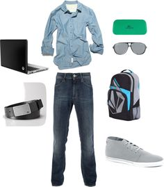 """Men's Casual Outfit - blue/denim"" by missriane on Polyvore"