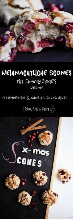 Weihnachtliche Scones mit Cranberries   vegan - gesund, mit Dinkelmehl & ohne Haushaltszucker ... Hmm weihnachtliche Scones mit Cranberries und Zimt, so steht man doch gerne auf für ein leckeres Weihnachtsfrühstück oder? Mit Dinkelmehl, gesunder Kokosnussmilch und das Beste: Super schnell zubereitet! #weihnachten #scones #vegan #cranberries #zimt #weihnachtsgebäck #gesundbacken #backen #gesund