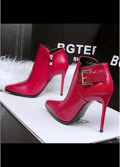 Trendy High Heels For Ladies : In Stock Fantastic Leatherette Upper Pointed Toe Stiletto Heels Party Shoe Boots High Heel Pumps, Stiletto Heels, Hot Shoes, Shoes Heels, Heeled Boots, Bootie Boots, Talons Sexy, Sexy Boots, Beautiful Shoes