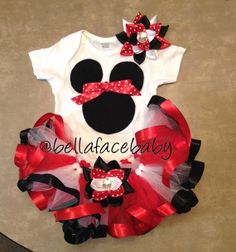 Minnie Mouse Birthday Tutu // Minnie Mouse Outfit by bellafacebaby, $50.00