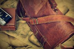 "Leather Briefcase 18"" / Vintage Leather Messenger Bag / Handbag / Satchel / Hip Bag / Shoulder Bag / Carry Bag / Cabin Travel Bag / Laptop"