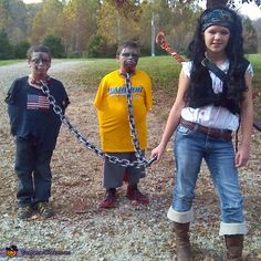 Savahanna: My daughter wanted to be machone from the walking dead and my boys wanted to be her two pet zombies :).