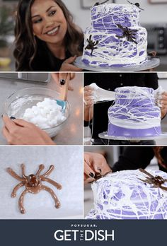 Spiderweb Marshmallow Cake are perfect for Halloween parties Halloween Punch, Halloween Drinks, Halloween Desserts, Halloween Food For Party, Halloween Cakes, Halloween Treats, Halloween Goodies, Halloween Stuff, Party