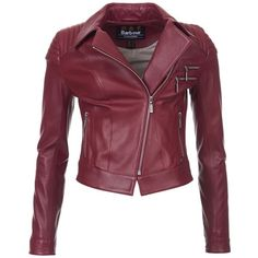 Women's Barbour International Farleigh Leather Jacket - Cherry Red ($460) ❤ liked on Polyvore featuring outerwear, jackets, leather jackets, coats, cropped jacket, purple jacket, purple leather jacket, fitted leather jacket and cropped moto jacket