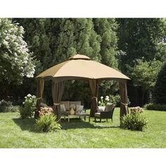 Shop allen + roth 129-in x 155-in x 9.86-ft Polyester Roof Brown Steel Rectangle Gazebo at Lowes.com