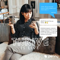 We are incredibly excited to announce our NEW Penny Thrive Plan! Thrive includes unlimited features that will fuel your business growth.  Head over to the billing section to give Penny Thrive a try FREE for 14 days! Have a BIG Day 💪 🚀 Direct Sales, Virtual Assistant, Big Day, Meet, Business, Store, Business Illustration