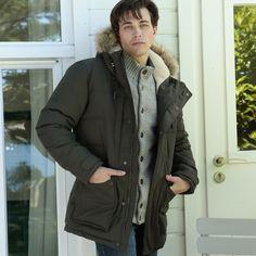 Femmes Bleu Taille 12 Contraste manteau de fourrure longue veste parka vert kaki filles Parker