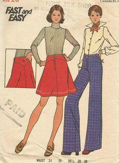 Vintage 70s Butterick 3865 Misses Shaped Yoke Skirt and Pants