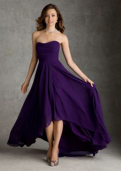 High-low Bridesmaid Dress - 20 Most Elegantly Designed Plum Bridesmaid Dresses - EverAfterGuide High Low Bridesmaid Dresses, A Line Prom Dresses, Bridesmaids, Strapless Dress Formal, Formal Dresses, Wedding Dresses, Chiffon Skirt, High Low Chiffon Dress, Feminine Fashion