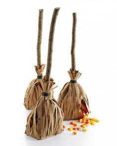 Halloween Party Decor: Witch's Broom Favor Bags. Really cute!