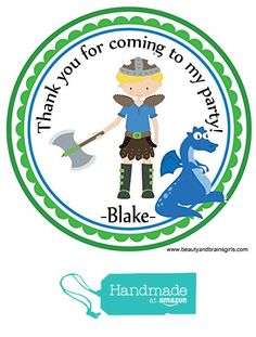 Viking Axe Sword Dragon Blonde Hair Boy Themed Personalized Birthday Party Favors- Custom Birthday Party Favor Stickers - Treat Tag Toppers- 24 Stickers Popular Size 2.5 Inches. Peel- and- Stick Stickers https://www.amazon.com/dp/B01GYZD28Q/ref=hnd_sw_r_pi_dp_qJzxxb3CNYZB9 #handmadeatamazon