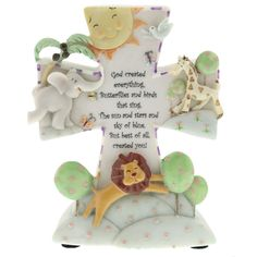 "Cute nightlight for the baby room: ""God created everything, Butterflies and birds that sing. The sun and stars and sky of blue. But best of all, created you!"""