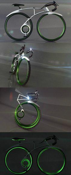 amazing bicycle design: 1. slick. 2. foldable. 3. no chain!