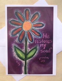 Stationery Cards Set of 10- He Restores My Soul